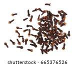 dry cloves isolated on white...   Shutterstock . vector #665376526