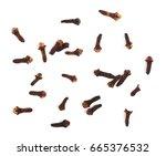 dry cloves isolated on white...   Shutterstock . vector #665376532