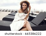 smiling beauty woman with... | Shutterstock . vector #665386222