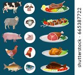food dishes set  beef  lamb ... | Shutterstock .eps vector #665387722
