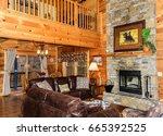 open floor plan of cabin in... | Shutterstock . vector #665392525