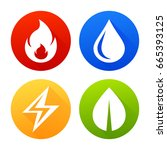 Icons Fire  Water  Electricity...