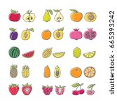 fruit hand drawn icon set in... | Shutterstock .eps vector #665393242