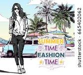 pretty girl on the summer beach ... | Shutterstock .eps vector #665402062