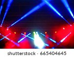 stage spotlight with rays.... | Shutterstock . vector #665404645