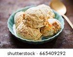 salted caramel ice creams on... | Shutterstock . vector #665409292