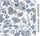blue floral seamless pattern.... | Shutterstock .eps vector #665409526
