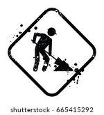 under construction vector sign... | Shutterstock .eps vector #665415292