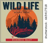 vintage vector of wilderness... | Shutterstock .eps vector #665417518