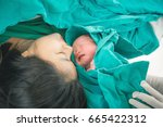 newborn baby with mother and... | Shutterstock . vector #665422312