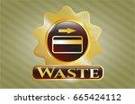 golden emblem with credit card ... | Shutterstock .eps vector #665424112