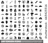 100 tension icons set in simple ... | Shutterstock .eps vector #665425516