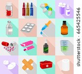 drug forms icons set. flat... | Shutterstock .eps vector #665425546