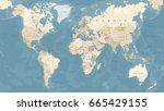 vintage world map   detailed... | Shutterstock .eps vector #665429155
