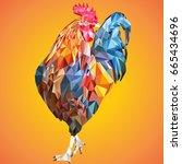 .a triangular cock. symbol of... | Shutterstock .eps vector #665434696