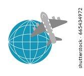 airplane flying around the world | Shutterstock .eps vector #665434972