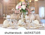 wedding banquet table with... | Shutterstock . vector #665437105