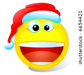 Christmas Smiley With Red Hat On