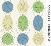 mid century modern 1950s style... | Shutterstock .eps vector #665447302