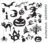 set for halloween. vector set... | Shutterstock .eps vector #665449492