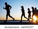 group of young people runs at... | Shutterstock . vector #66545257