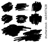 set of black ink brushes vector ... | Shutterstock .eps vector #665457628