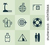 tourism icons set. collection... | Shutterstock .eps vector #665458666