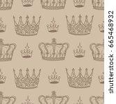 vintage seamless background... | Shutterstock .eps vector #665468932