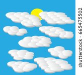 white curly clouds on blue... | Shutterstock .eps vector #665475502