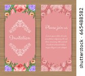 floral invitation or greeting... | Shutterstock .eps vector #665488582