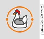 chicken logo template on white... | Shutterstock .eps vector #665493715