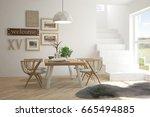 idea of white minimalist dinner ... | Shutterstock . vector #665494885