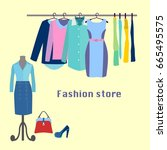 clothing fashion store.... | Shutterstock .eps vector #665495575