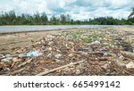 a lot of garbage and plastic... | Shutterstock . vector #665499142