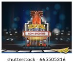 cinema building movie theater... | Shutterstock .eps vector #665505316