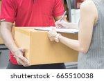 asian woman receiving a package ... | Shutterstock . vector #665510038