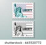 vector postage stamps united... | Shutterstock .eps vector #665520772