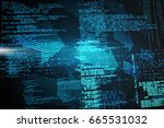 composite image of binary codes ... | Shutterstock . vector #665531032