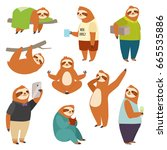 laziness sloth animal character ... | Shutterstock .eps vector #665535886
