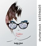 fashion sketch. indie girl.... | Shutterstock .eps vector #665546605