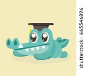 cute cartoon crocodile. | Shutterstock .eps vector #665546896