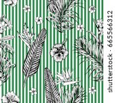 hand drawn floral pattern.... | Shutterstock .eps vector #665566312