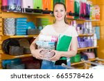 adult girl with disposable... | Shutterstock . vector #665578426