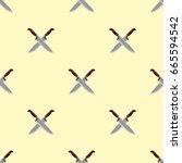 kitchen knife seamless pattern... | Shutterstock .eps vector #665594542