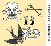old school vintage retro tattoo ...   Shutterstock .eps vector #665614696