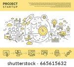 digital vector yellow startup... | Shutterstock .eps vector #665615632