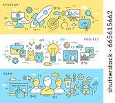 digital vector blue startup... | Shutterstock .eps vector #665615662