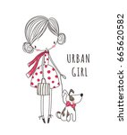 urban girl with dog. t shirt... | Shutterstock .eps vector #665620582