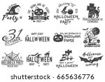 set of halloween party concept. ... | Shutterstock .eps vector #665636776