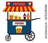 popcorn cart carnival store and ... | Shutterstock .eps vector #665638486